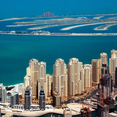 Aerial View of Dubai Marina and Palm Jumeirah